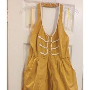 Floreat Anthropologie yellow halter dress size 10
